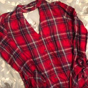 Plaid button down, v neck with bell sleeve detail